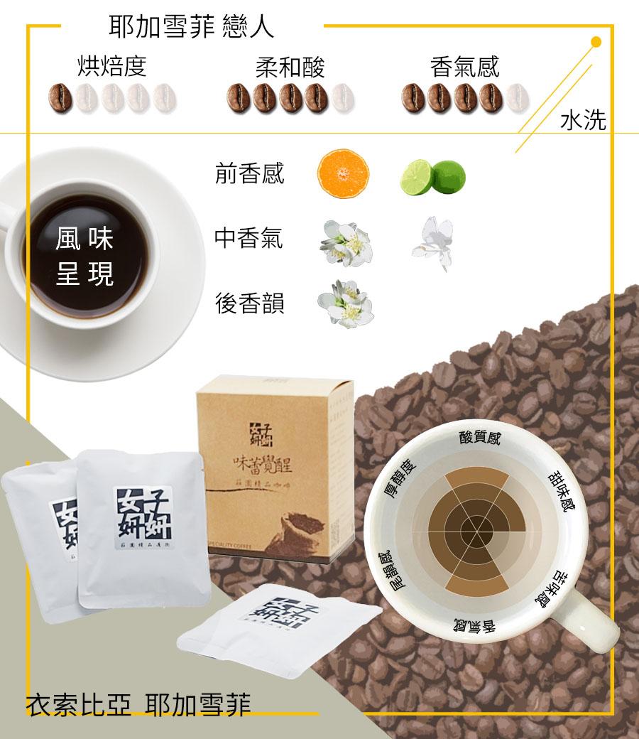 女子妍妍 精品咖啡-耶加雪菲戀人-6入/盒